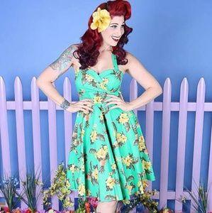 Dresses & Skirts - Green floral halter brand new S, L, 3XL pinup dres